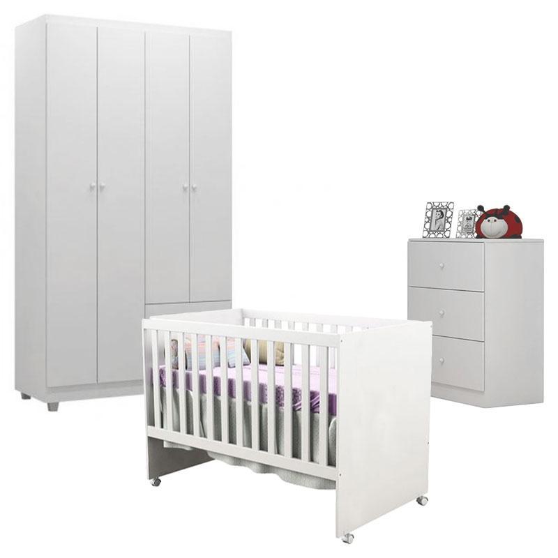 Quarto de Bebê Louise 4 Portas com Berço Gabi Branco Brilho - AJL
