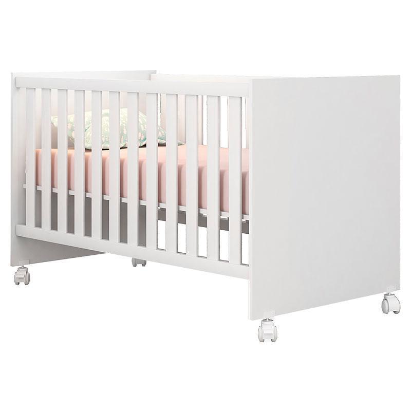 Quarto de Bebê New Cristal 4 Portas com Berço Doce Sonho Branco Brilho e Colchão - Canaã
