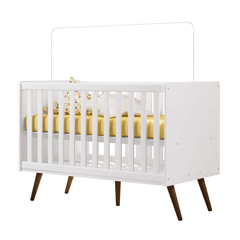 Quarto de Bebê Retrô Branco Brilho com Colchão Physical - Qmovi