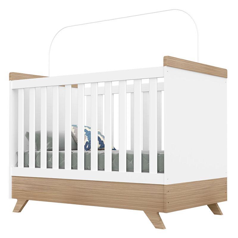 Quarto de Bebê Retrô Vitória Branco Brilho Wengue - Canaã