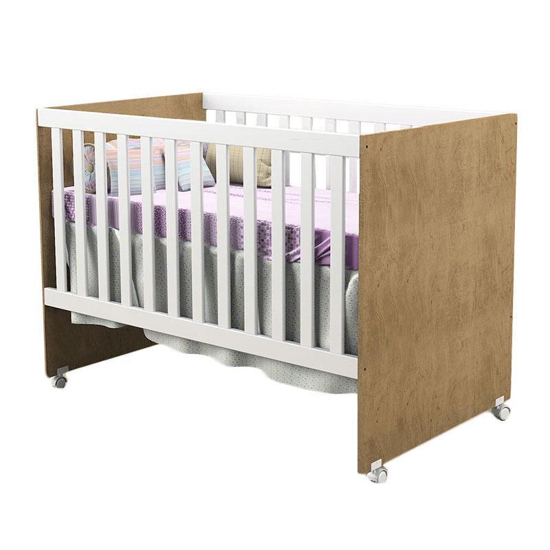 Quarto de Bebê Selena 3 Portas com Berço Gabi Branco Acetinado Amadeirado - Carolina