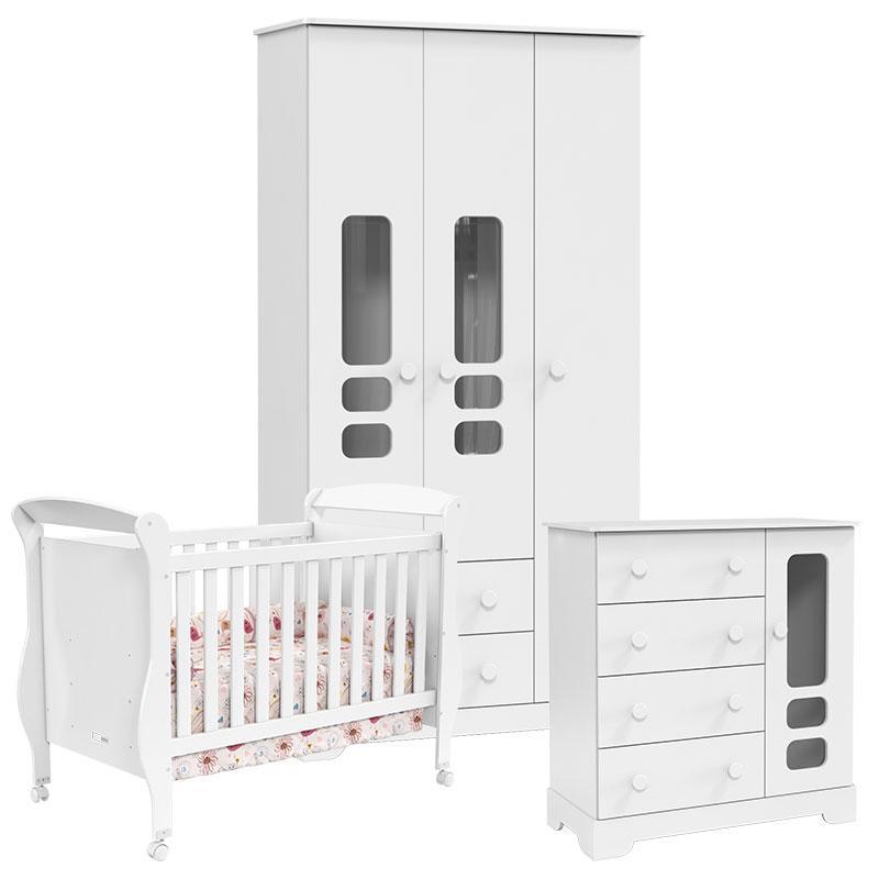 Quarto de Bebê Smart 3 Portas Branco Acetinado - Matic