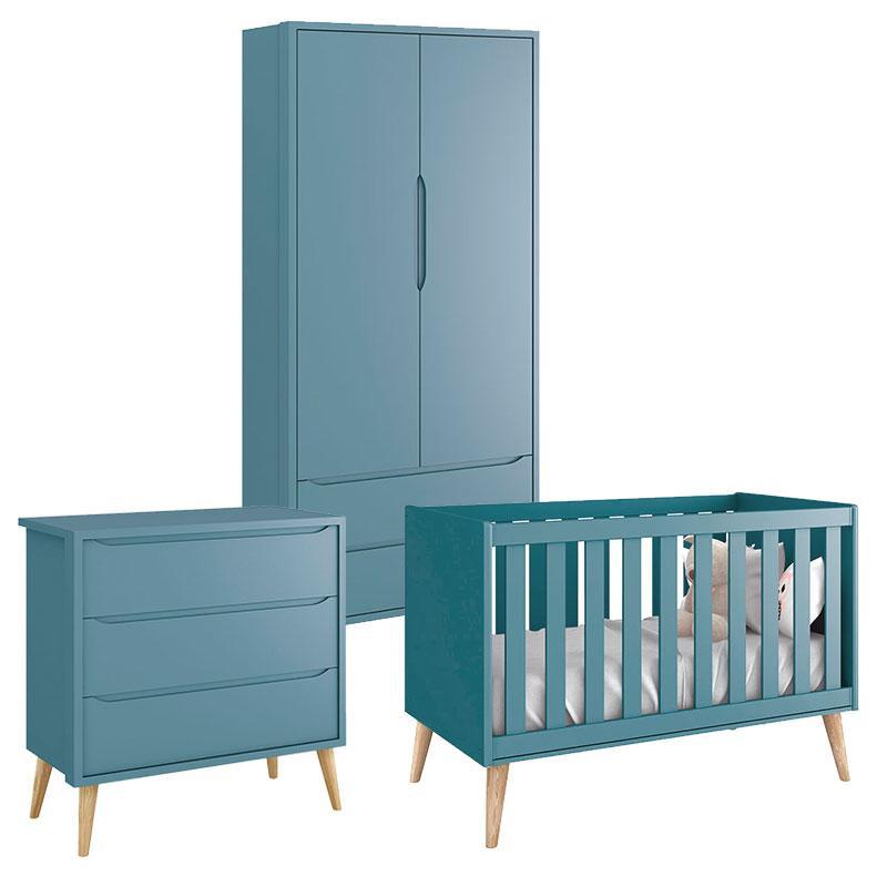 Quarto de Bebê Theo 2 Portas Azul com Pés Madeira Natural - Reller