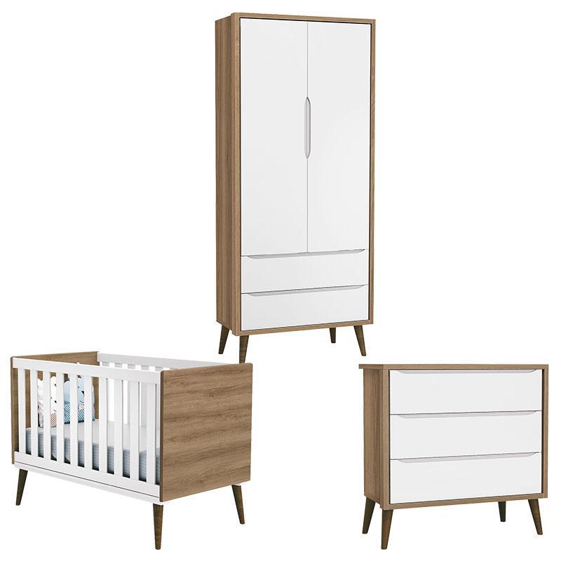 Quarto de Bebê Theo 2 Portas Branco Acetinado Mezzo Castani com Pés Amadeirado - Reller
