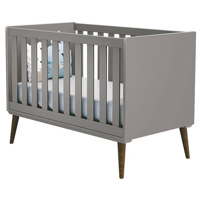 Quarto de Bebê Theo 2 Portas Cinza com Pés Amadeirado - Reller