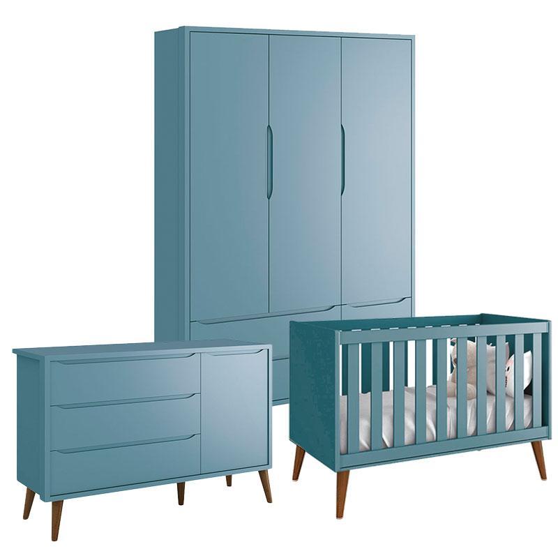 Quarto de Bebê Theo 3 Portas Azul com Pés Amadeirados - Reller