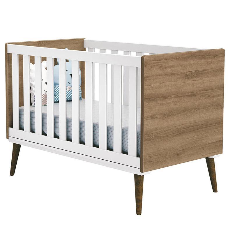 Quarto de Bebê Theo 3 Portas Branco Acetinado Mezzo Castani com Pés Amadeirado e Colchão - Reller