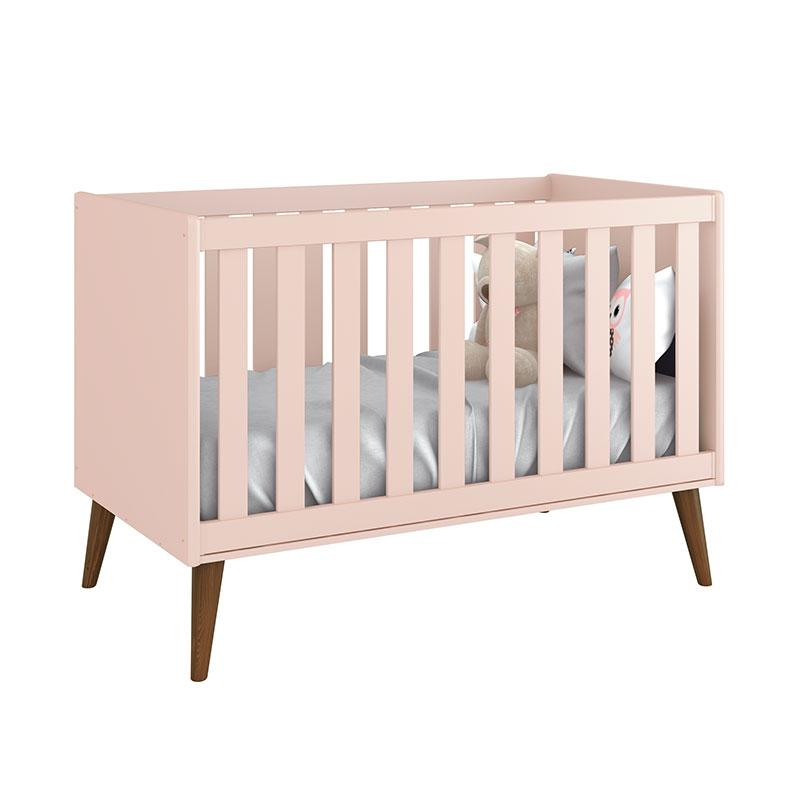 Quarto de Bebê Theo 3 Portas Cômoda Gaveteiro Rosa com Pés Amadeirados - Reller