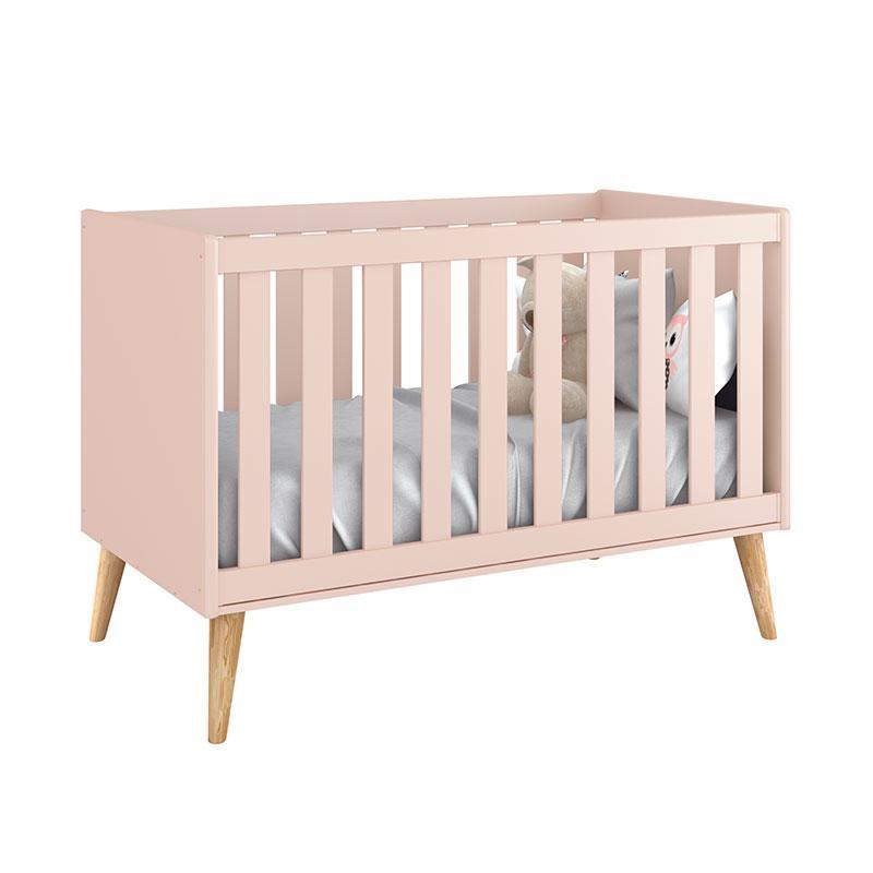 Quarto de Bebê Theo 3 Portas Cômoda Gaveteiro Rosa com Pés Madeira Natural - Reller