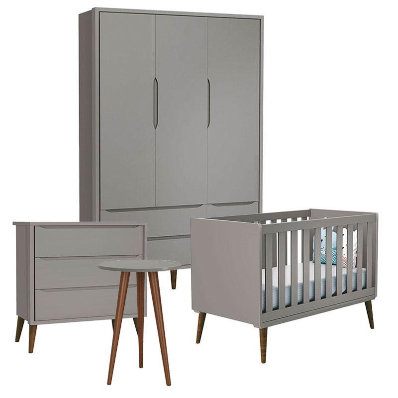 Quarto de Bebê Theo 3 Portas e Mesa de Canto Cinza com Pés Amadeirados - Reller