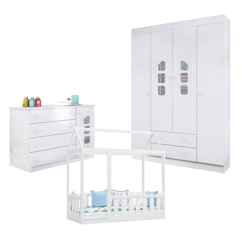 Quarto Infantil Lívia 4 Portas e Cama Montessoriana com Grade Branco Brilho Canaã - Phoenix