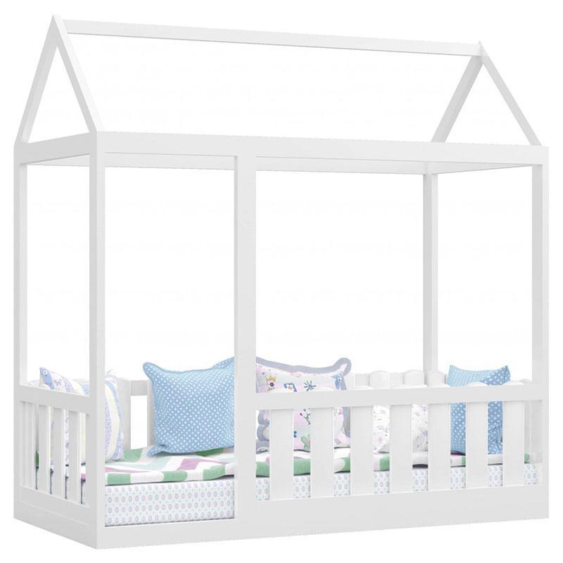 Quarto Infantil New Cristal 3 Portas e Cama Montessoriana com Grade Branco Brilho - Canaã
