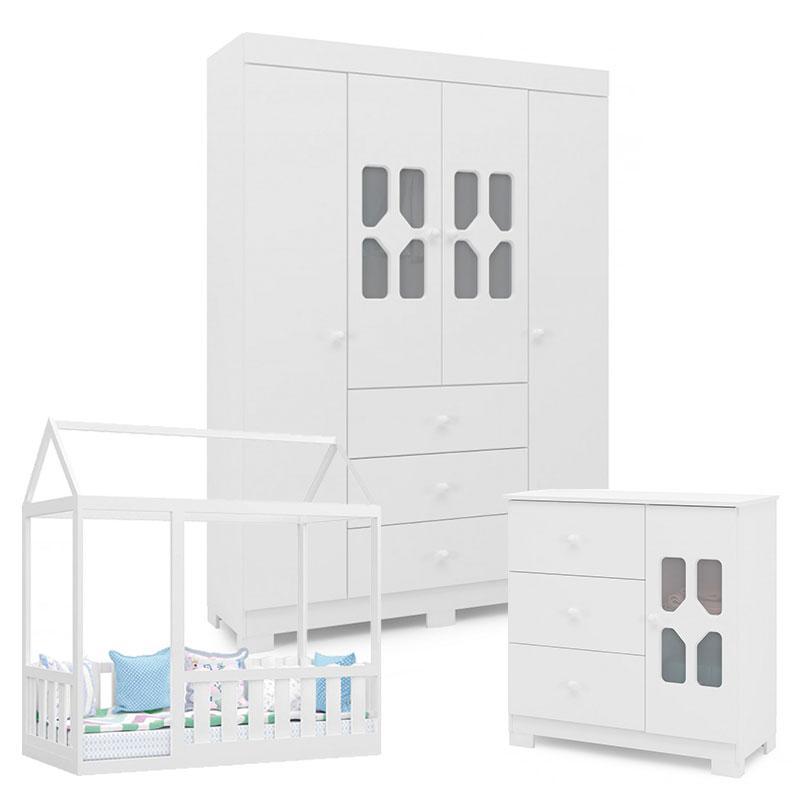 Quarto Infantil New Cristal 4 Portas e Cama Montessoriana com Grade Branco Brilho - Canaã