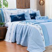 05957553d8 Colcha King Yandra 100% Algodão 200 Fios 06 Peças Bordado - Azul