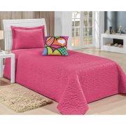 9371060804 Colcha Solteiro Print 03 Peças - Acompanha Almofada - Pink