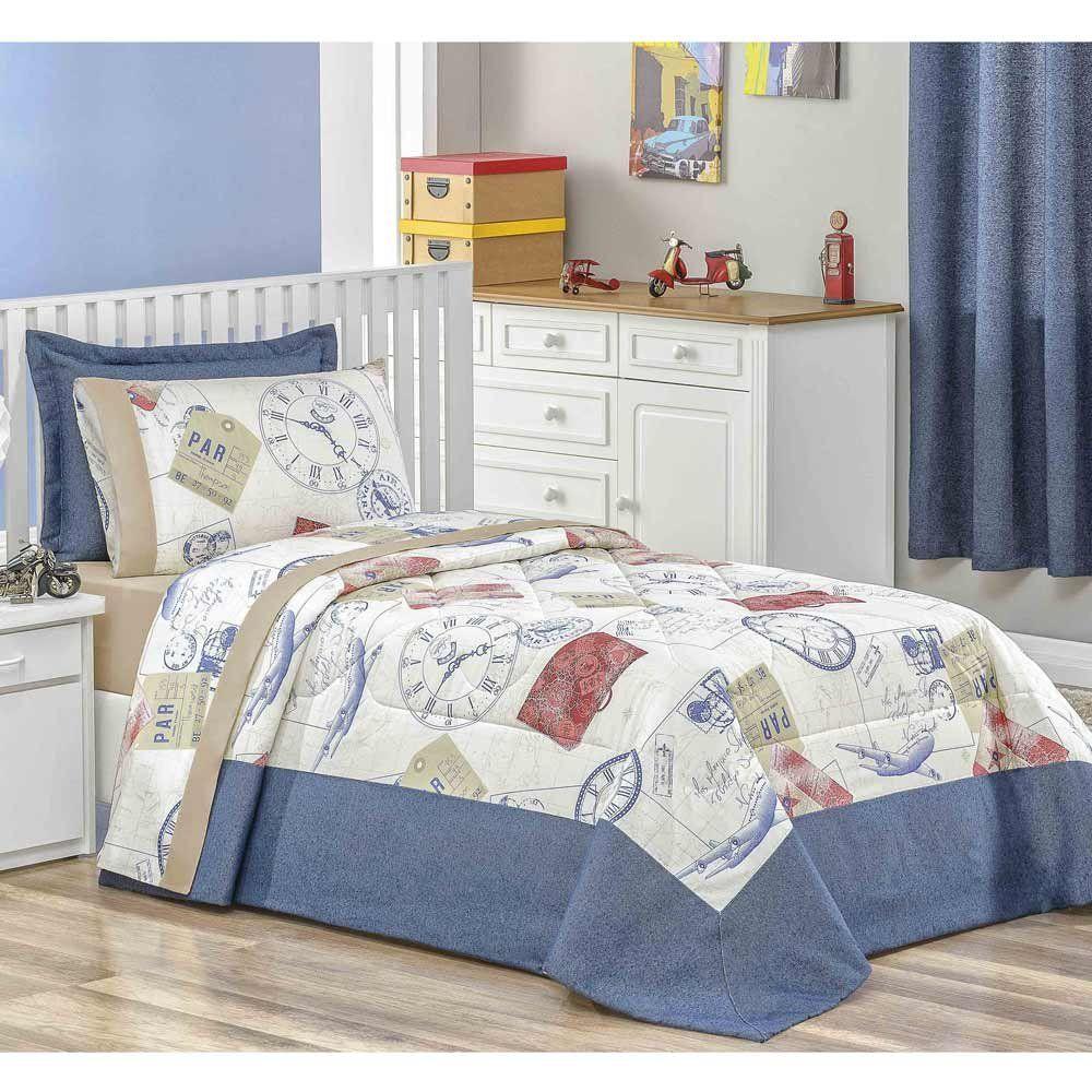 757d03568d Edredom Solteiro Clock 02 Peças Percal 160 Fios Extampa Exclusiva - Azul -  Docellar Enxovais
