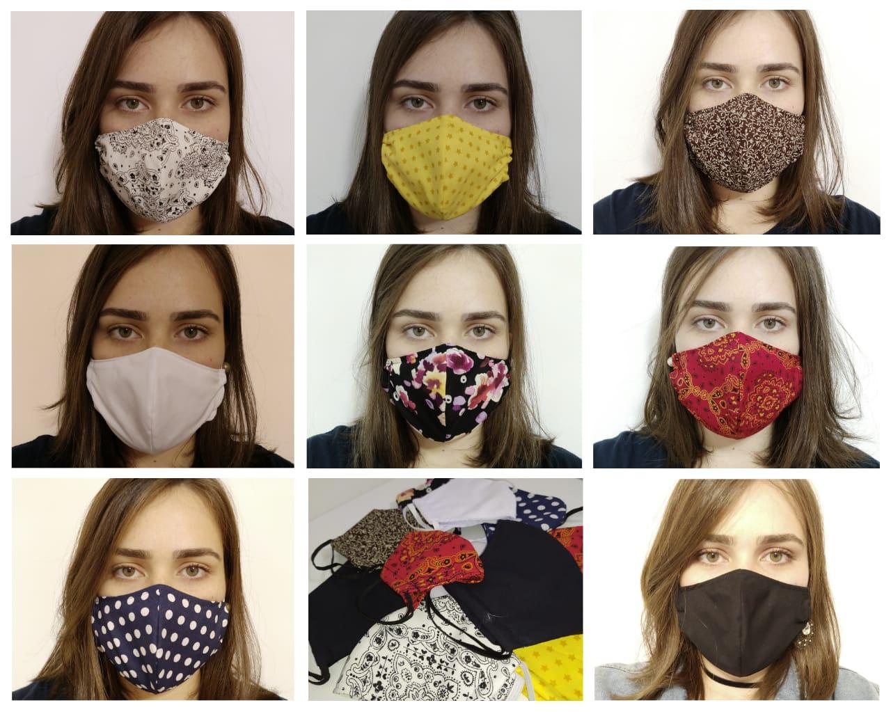 Máscara Reutilizável KIT  10 unid - Estampadas+Branco+Preto