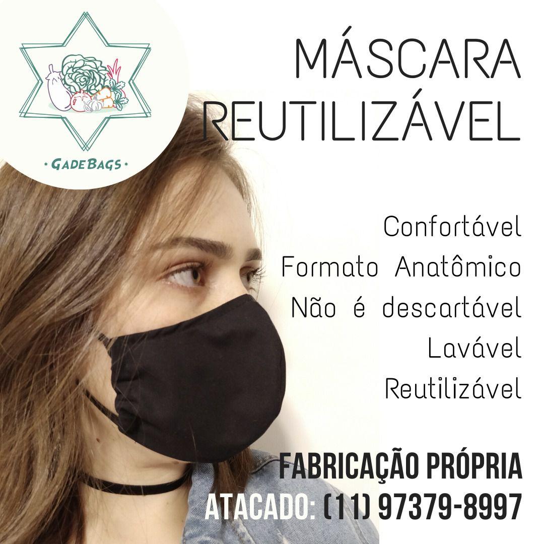 Máscara Reutilizável KIT 5 UNIDADES PRETAS