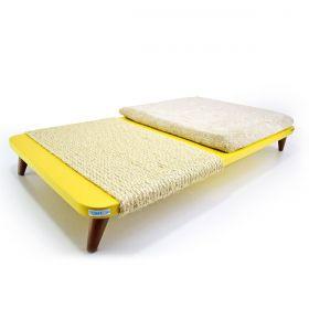 Cama Arranhador para Gatos Amarela com Almofada Bege