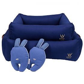 Cama Woof Classic Enchanté Azul com Alça de Couro