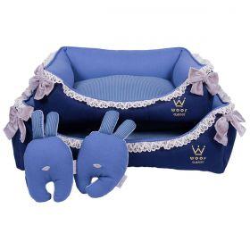 Cama Woof Classic Enchanté Azul com Laço e Renda