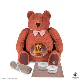 Combo Urso Woof Chevron Marrom Exclusivo