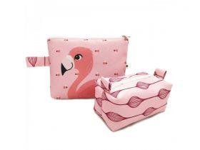 Kit Necessaire + Estojo Flamingo Flora