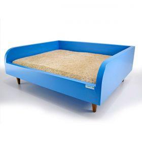 Sofá para Cachorro Tomtom Pet Azul com Almofada Bege - M