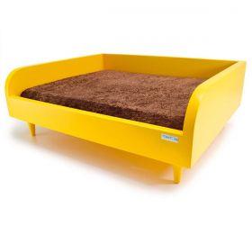 Sofá para Cachorro Tomtom Amarelo com Almofada Marrom - P