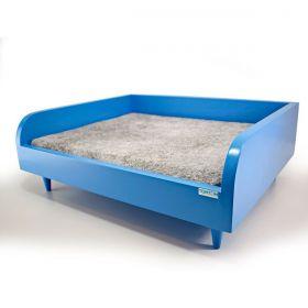 Sofá para Cachorro Tomtom Pet Azul com Almofada Cinza - P