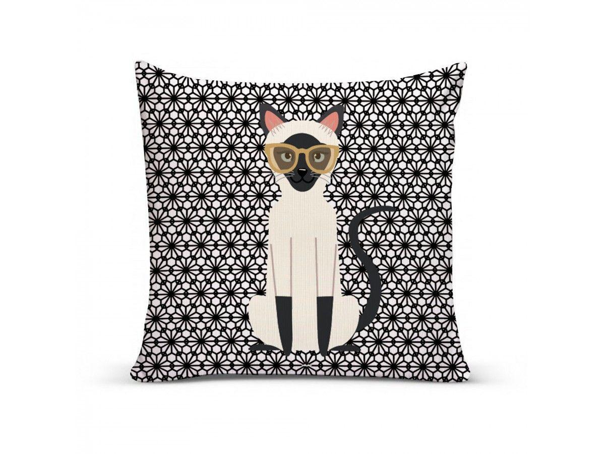 Almofada com Capa Personalizada Gato Siamês