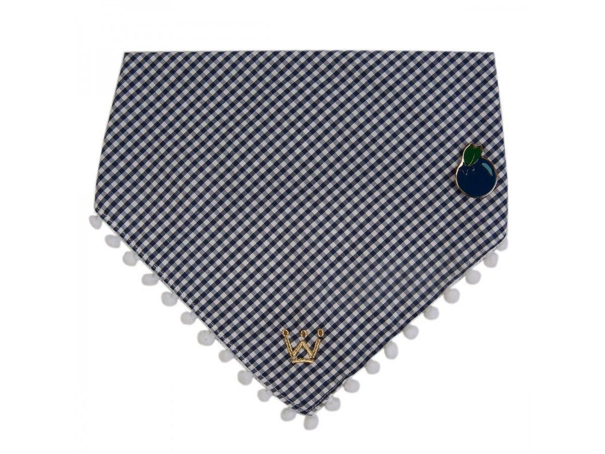 Bandana Woof Classic Pic Nic Xadrez Blueberry com Pin
