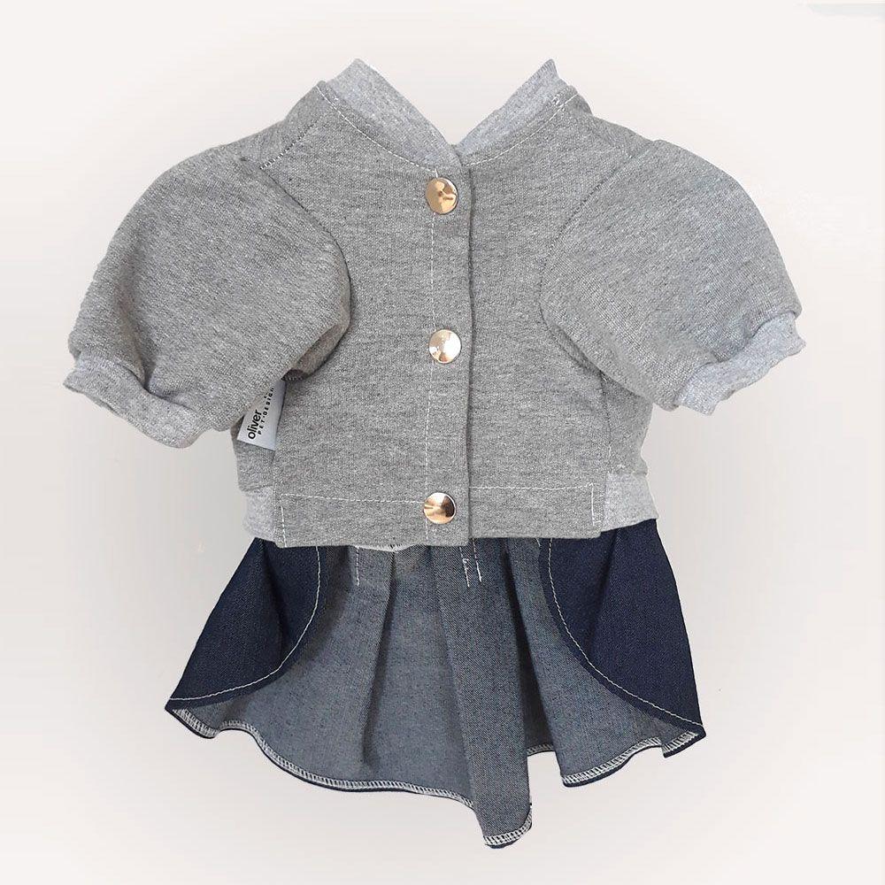 Blusa Moletom Mescla com Cachecol e Saia Jeans