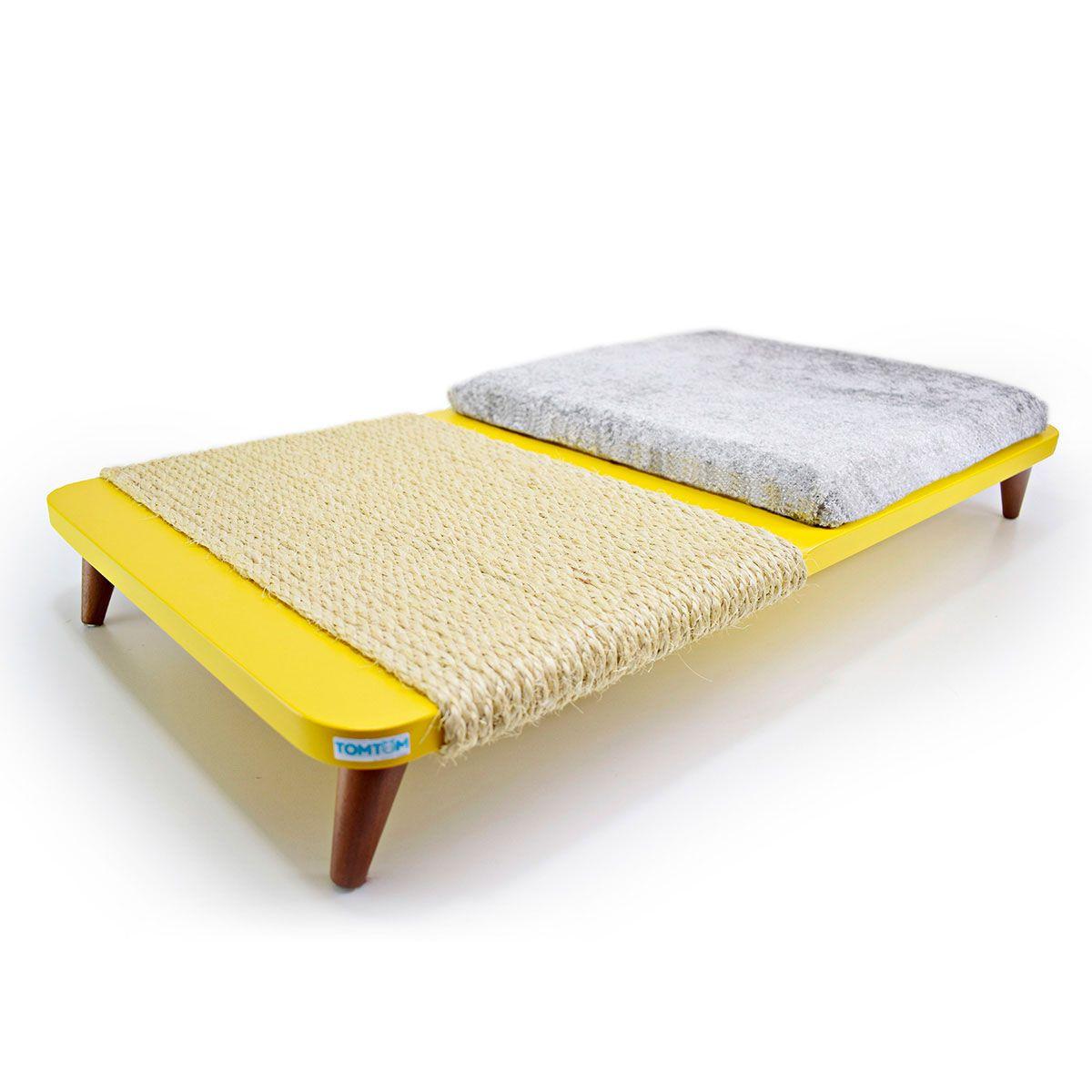 Cama Arranhador para Gatos Amarela com Almofada Cinza
