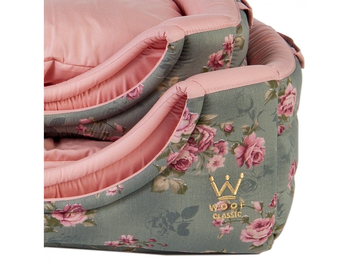 Cama Flex Woof Classic Floral Cinza Rosa - G