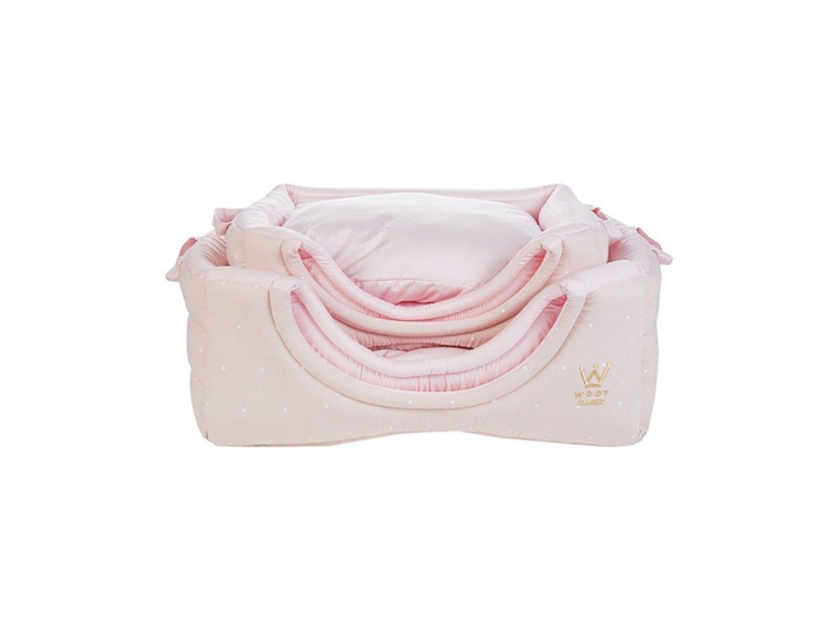 Cama Flex Woof Classic Rosa Poá Branco - G