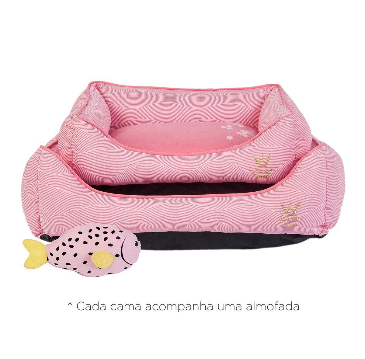 Cama Woof Classic Deep Escamas Rosa - M