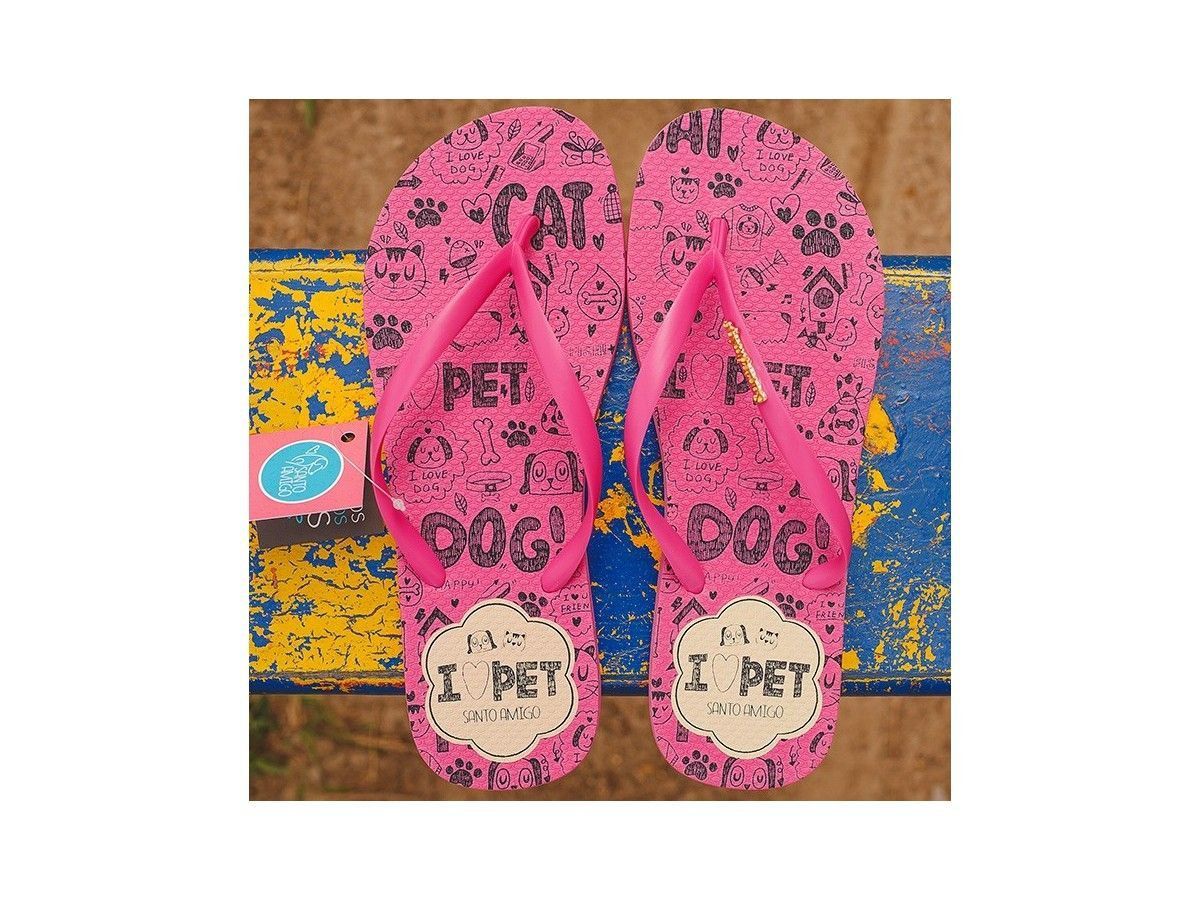 Chinelo Rosa I Love Pet