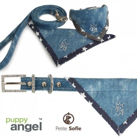 Coleira + Guia Bandana Puppy Angel Jeans Cowboy - M