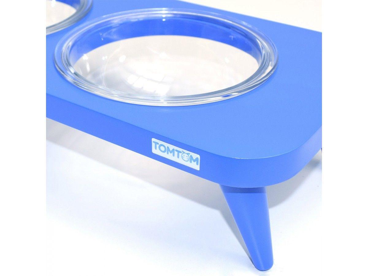 Comedouro de Vidro Triplo Elevado Azul