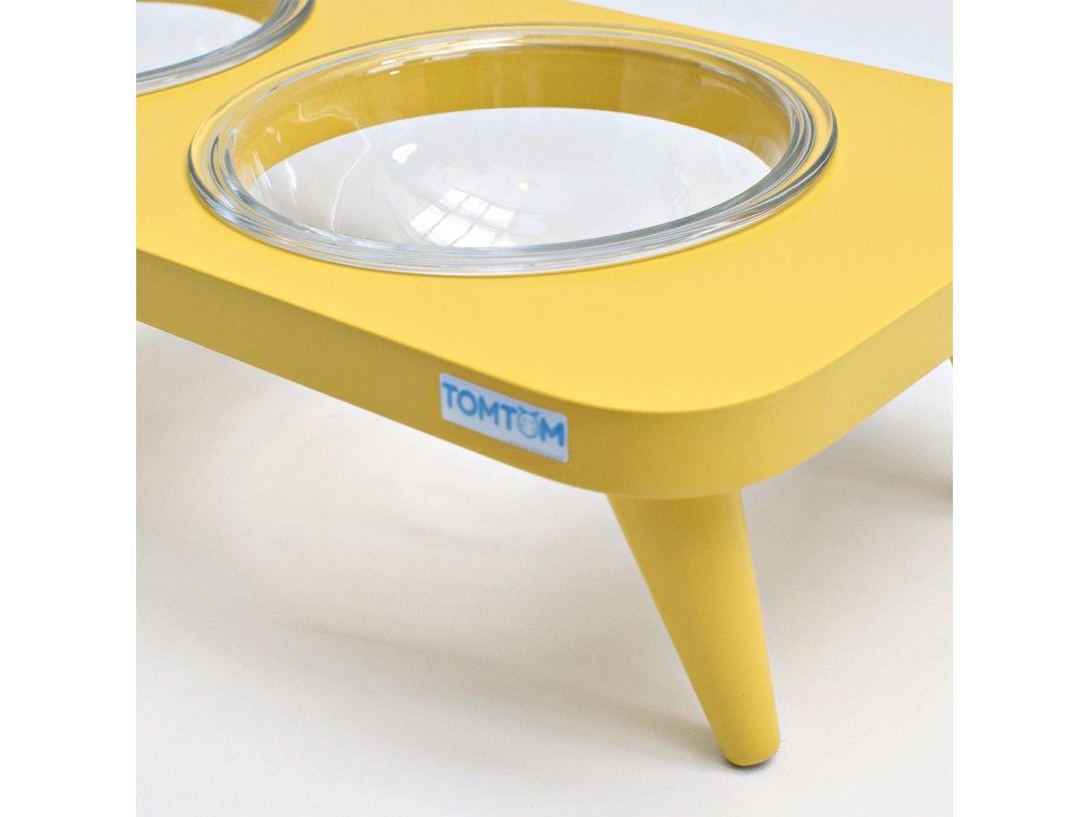 Comedouro Duplo Suspenso em Vidro Amarelo