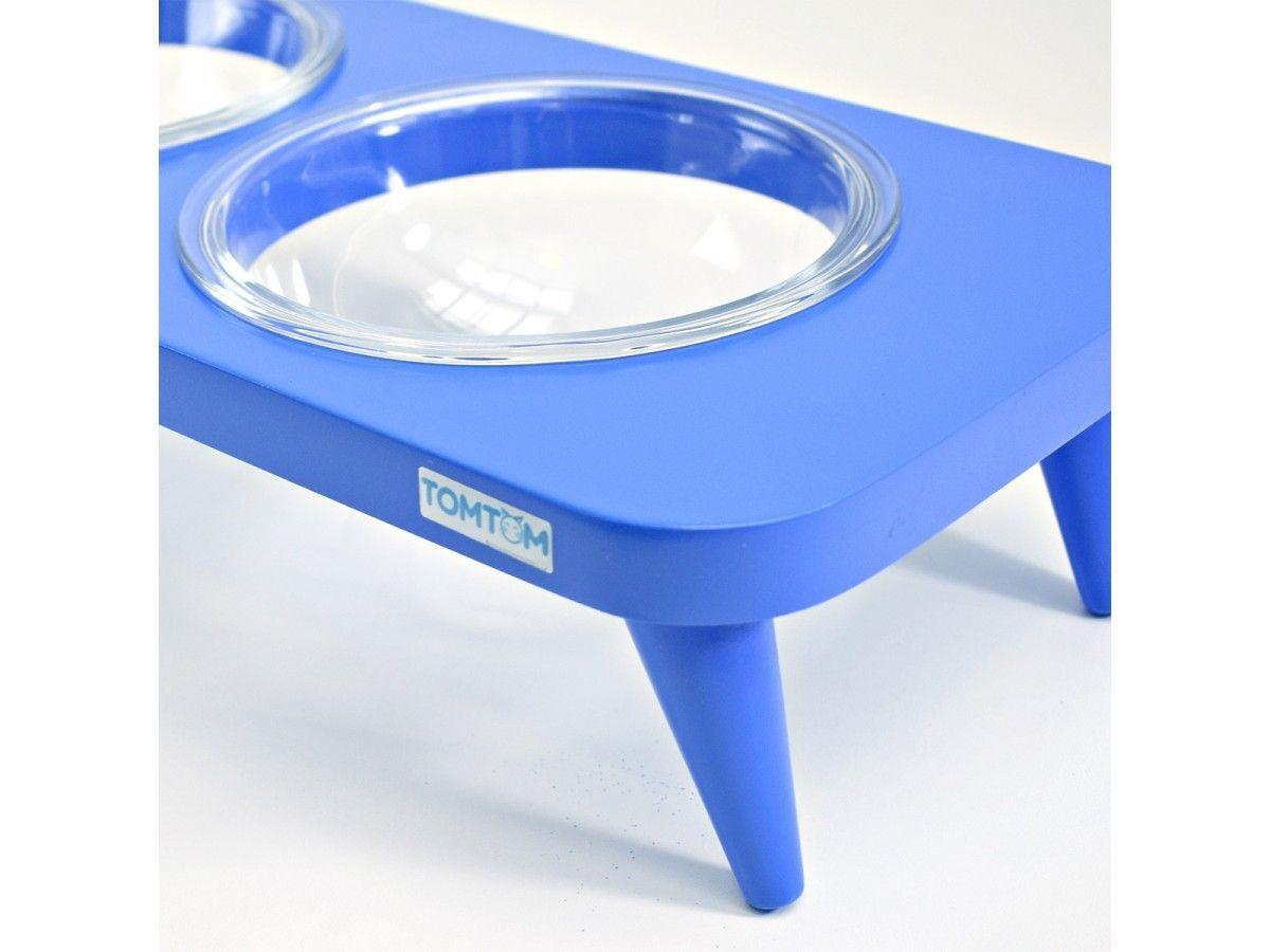 Comedouro Duplo Suspenso em Vidro Azul
