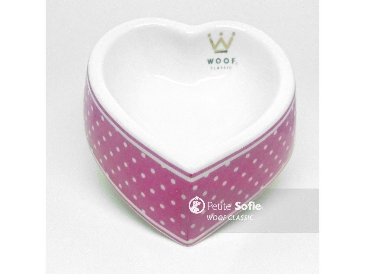 Comedouro Woof Classic Coração Poá Pink