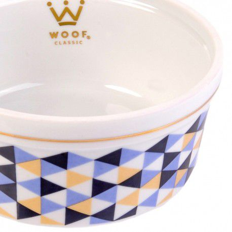 Kit Cama Woof Classic Laço M Blueberry com Comedouros