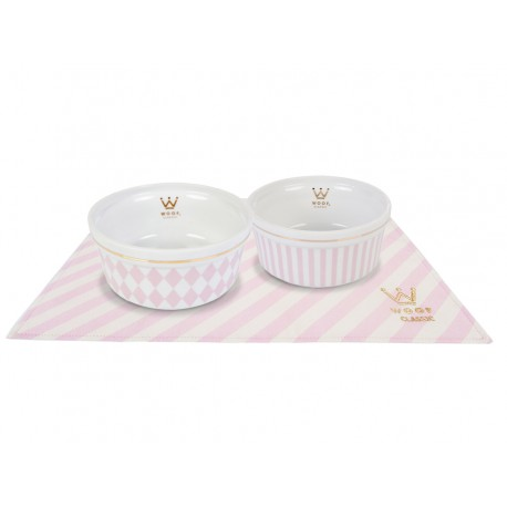 Kit Comedouros Woof Classic Rosa - P
