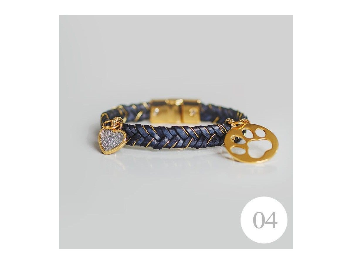 Pulseira Navy Heart Dog Lover de 19,5cm