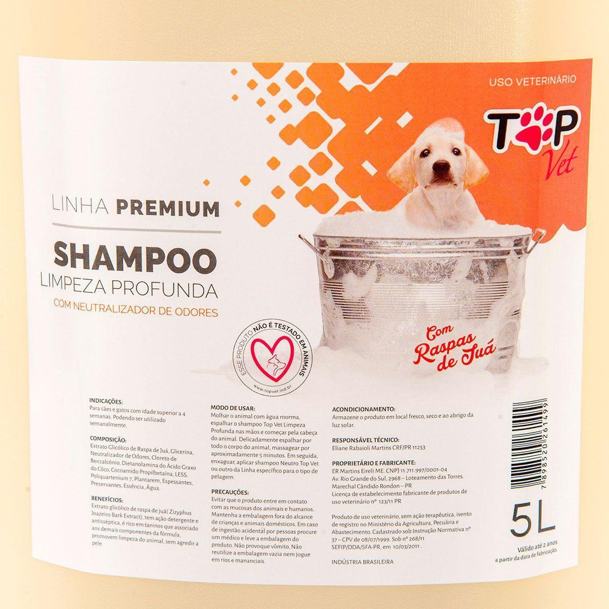 Shampoo Limpeza Profunda Top Vet 5L