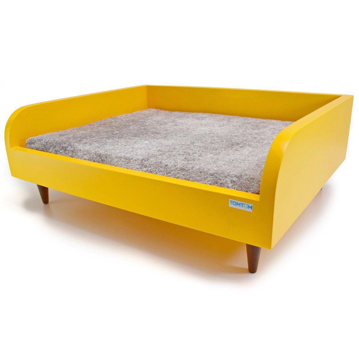 Sofá para Cachorro Médio Tomtom Amarelo com Almofada Cinza - M