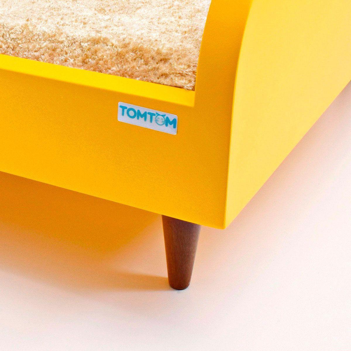 Sofá para Cachorro Médio Tomtom Amarelo com Almofada Bege - M