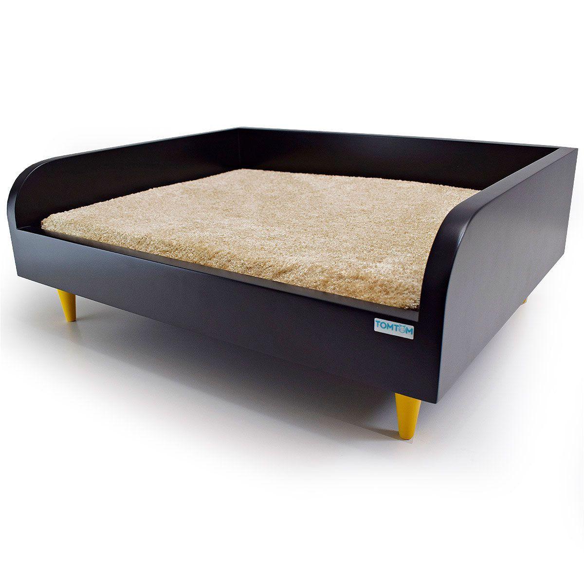 Sofá para Cachorro Pequeno Tomtom Preto com Almofada Bege - P